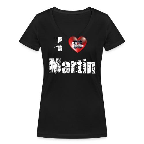 I Love Martin vorne - Frauen Bio-T-Shirt mit V-Ausschnitt von Stanley & Stella
