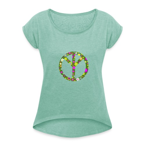 Peace Zeichen - T-Shirt Frauen - Frauen T-Shirt mit gerollten Ärmeln