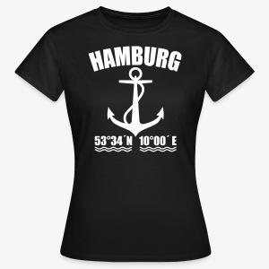 Hamburg Koordinaten Anker maritim Ahoi Frauen Shirt schwarz, blau - Frauen T-Shirt
