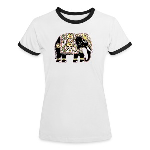Decorated Indian elephant - Women's Ringer T-Shirt