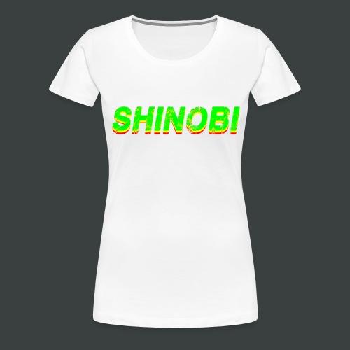 Shinobi Rouge/Jaune/Vert sur Blanc - T-shirt Premium Femme