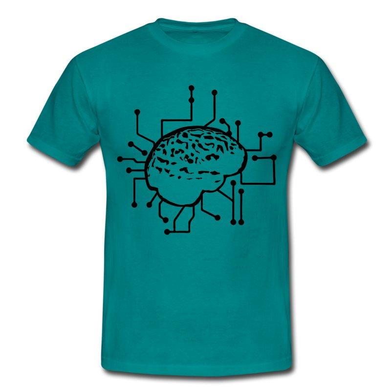 gehirn denken anschlie en strom stecker elektronis t shirt spreadshirt. Black Bedroom Furniture Sets. Home Design Ideas