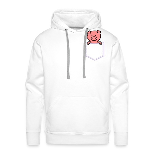 [White] Pocket-Pig - Men's Premium Hoodie