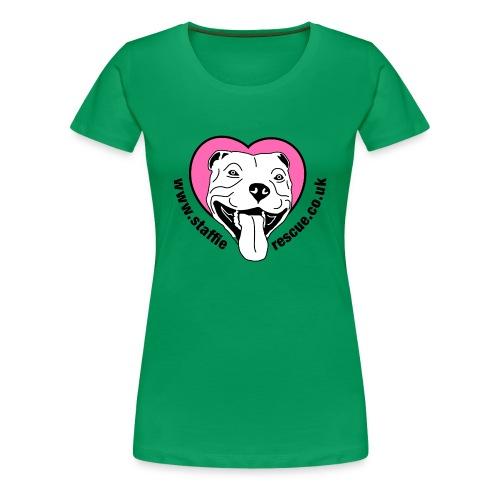 Staffie Rescue women's premium t-shirt (kelly green) - Women's Premium T-Shirt