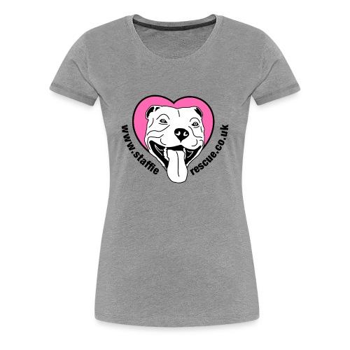 Staffie Rescue women's premium t-shirt (heather grey) - Women's Premium T-Shirt