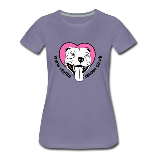 Staffie Rescue women's premium t-shirt (washed violet) - Women's Premium T-Shirt