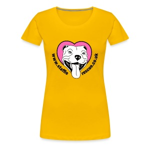 Staffie Rescue women's premium t-shirt (sun yellow) - Women's Premium T-Shirt