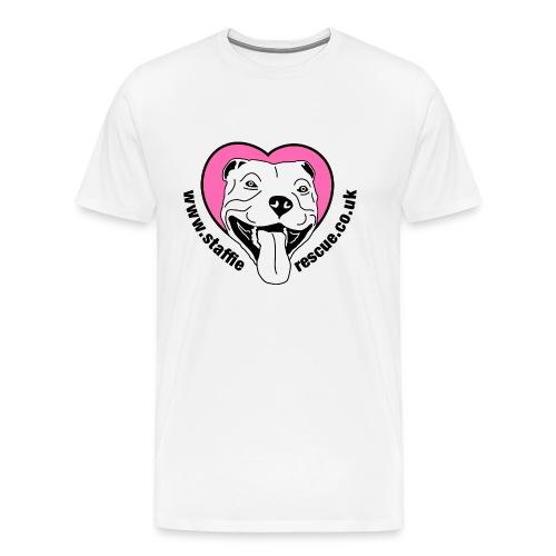 Staffie Rescue men's premium t-shirt (white) - Men's Premium T-Shirt