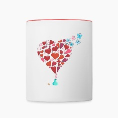 Hearts escaping mug