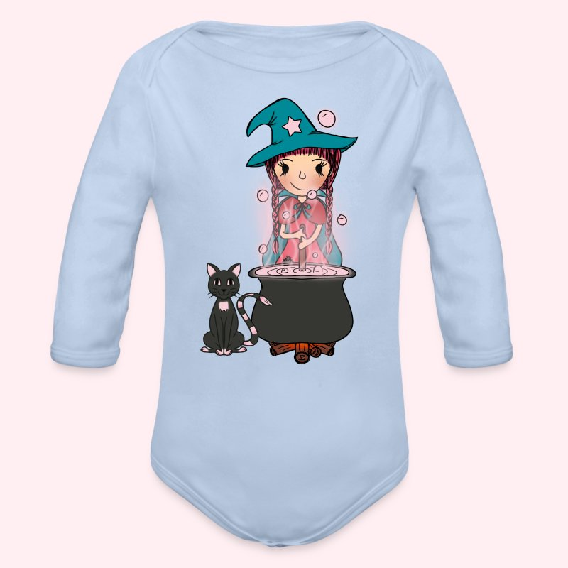 Witch Penelope and cat - Baby Bio-Langarm-Body