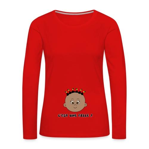 fille noire - T-shirt manches longues Premium Femme
