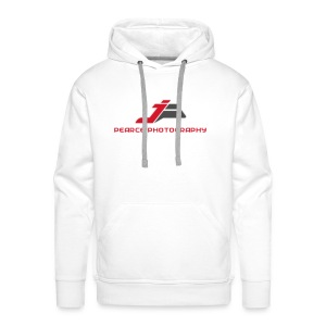 Mens White Hoodie with Pearce Photography Logo - Men's Premium Hoodie