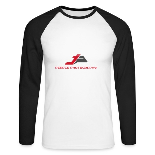 Mens White/Black Long sleeve shirt with Pearce Photography Logo - Men's Long Sleeve Baseball T-Shirt