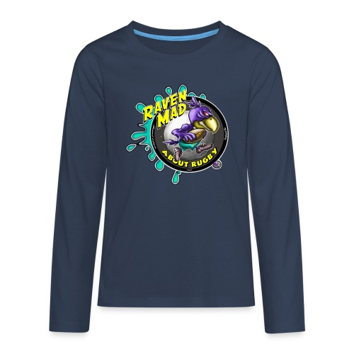 Kids Long Sleeve Raven Mad about Rugby - Teenagers' Premium Longsleeve Shirt