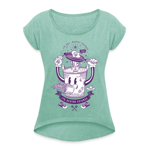 Women's T-Shirt with rolled up sleeves - Permaculture inspired tshirt design with rocket stove frying his egg. Perfect to show off at that homesteaders event or just to wear around town to provoke questions about rocket stoves perhaps  T-Shirts, washed violet.