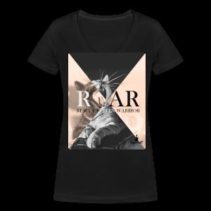 Rescue  Kitten Warrior Black V-Neck (Female) - Vrouwen bio T-shirt met V-hals van Stanley & Stella