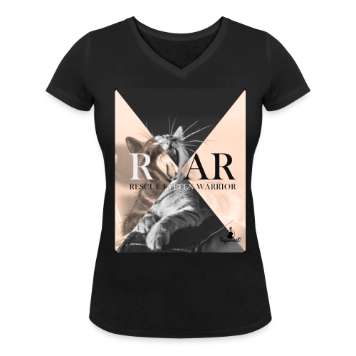 Rescue  Kitten Warrior Black V-Neck (Female) - Vrouwen bio T-shirt met V-hals van Stanley & Stella