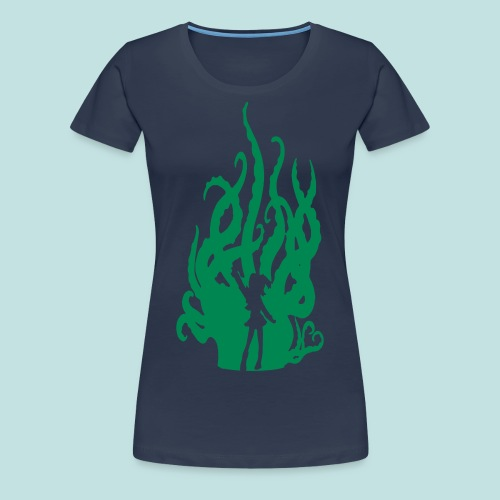 Fuzzy Green Hentacles (Skinny Fitted) - Women's Premium T-Shirt