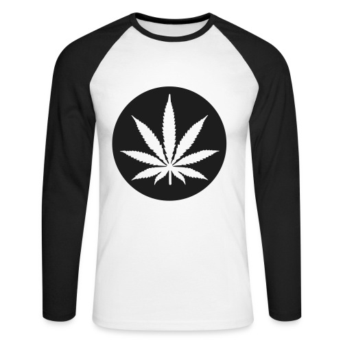 Weed Mens Long Sleeve Black Baseball T-Shirt - Men's Long Sleeve Baseball T-Shirt