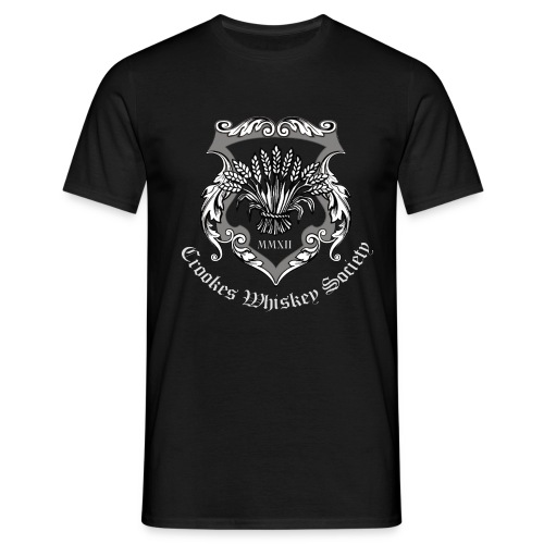 Crookes Whiskey Society t-shirt (black, large crest) - Men's T-Shirt