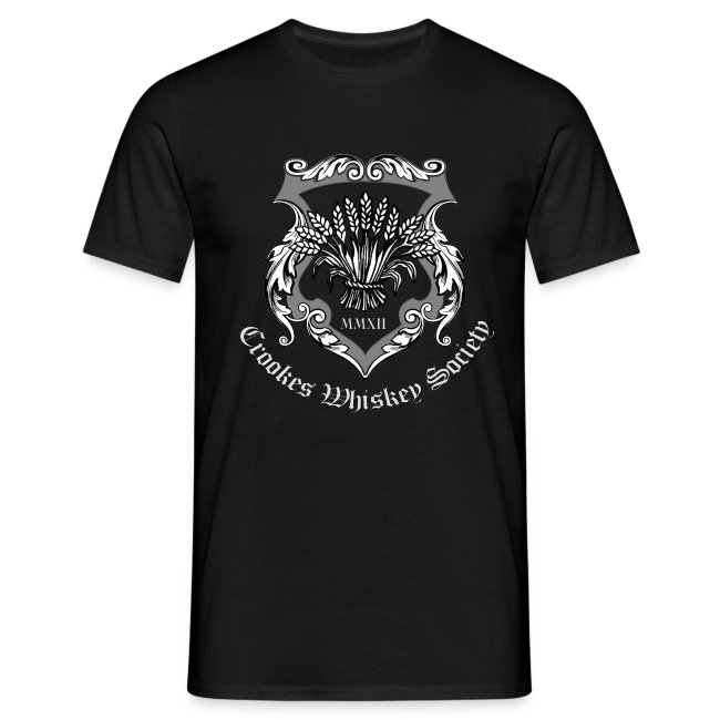 Crookes Whiskey Society t-shirt (black, large crest)