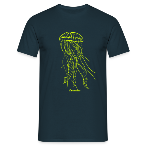 Deichdisko T-Shirt Jellyfish 'Neongelb - Männer T-Shirt