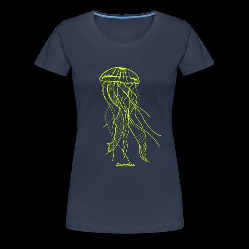 Deichdisko Premium-T-Shirt Jellyfish Neongelb - Frauen Premium T-Shirt