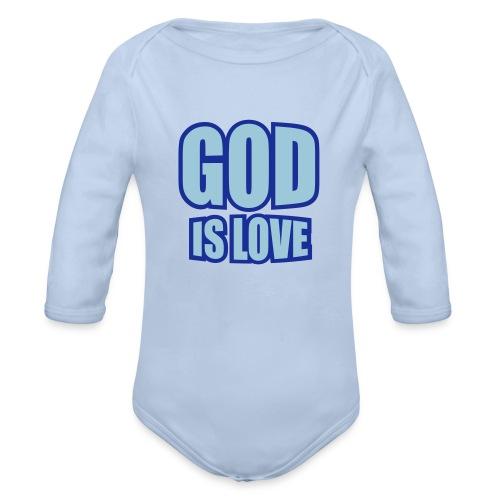 Body a manica lunga con scritta: Dio è amore - Body ecologico per neonato a manica lunga