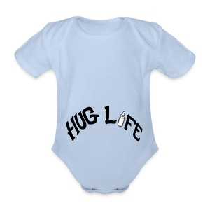 Hug Life - Grey - Organic Short-sleeved Baby Bodysuit