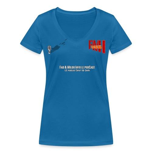 T-shirt femme col V petit Logo  - T-shirt bio col V Stanley & Stella Femme