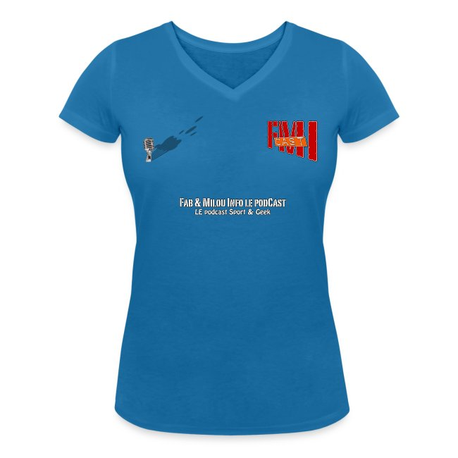 T-shirt femme col V petit Logo