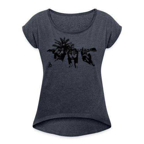 FrauenShirt mit schwarzem Bild - Frauen T-Shirt mit gerollten Ärmeln
