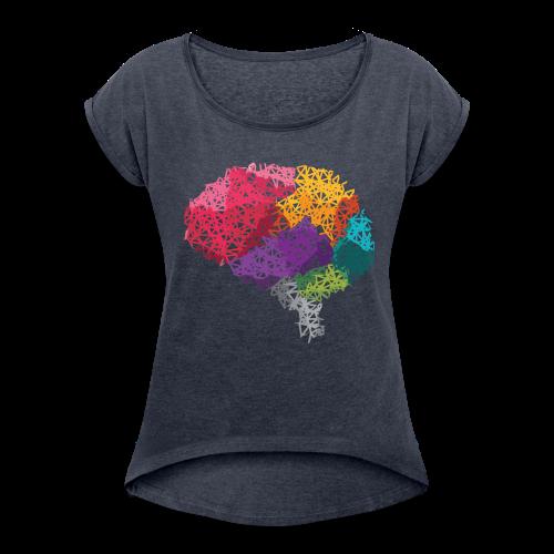Poly-Brain Short-Shirt Frau - Frauen T-Shirt mit gerollten Ärmeln