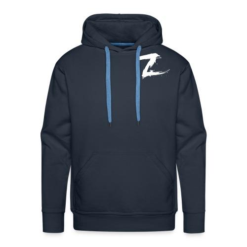 Mens Premium Hoodie with White Logo(Blue) - Men's Premium Hoodie