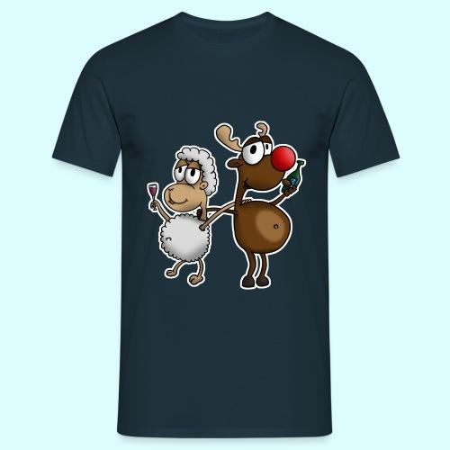 Schaf und Rentier T-Shirt für Männer - Männer T-Shirt