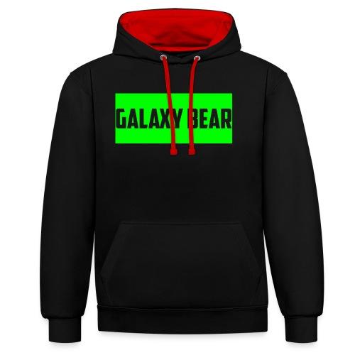 Galaxy Bear Lime on Black Hoodie - Contrast Colour Hoodie