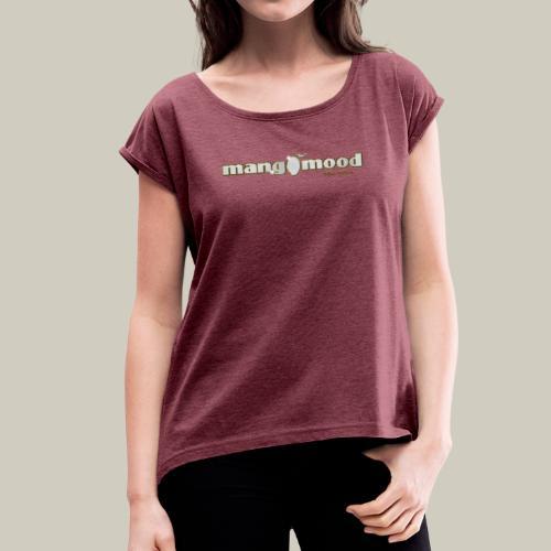 Frauen T-Shirt mit gerollten Ärmeln und Glitzer-Logo - Frauen T-Shirt mit gerollten Ärmeln