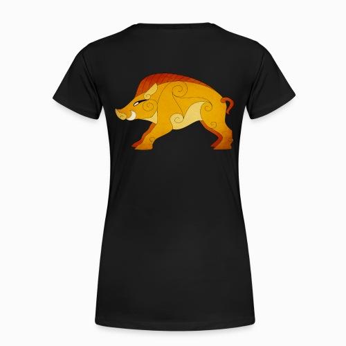Tshirt Femme Sanglier Gaulois au Dos - T-shirt Premium Femme
