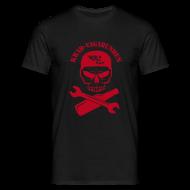 T-Shirts ~ Männer T-Shirt ~ T-Shirt Männer - Totenkopf, Pulle & Schraubenschlüssel (roter Aufdruck)