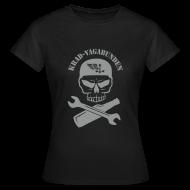 T-Shirts ~ Frauen T-Shirt ~ T-Shirt Damen - Totenkopf, Pulle & Schraubenschlüssel (grauer Aufdruck)