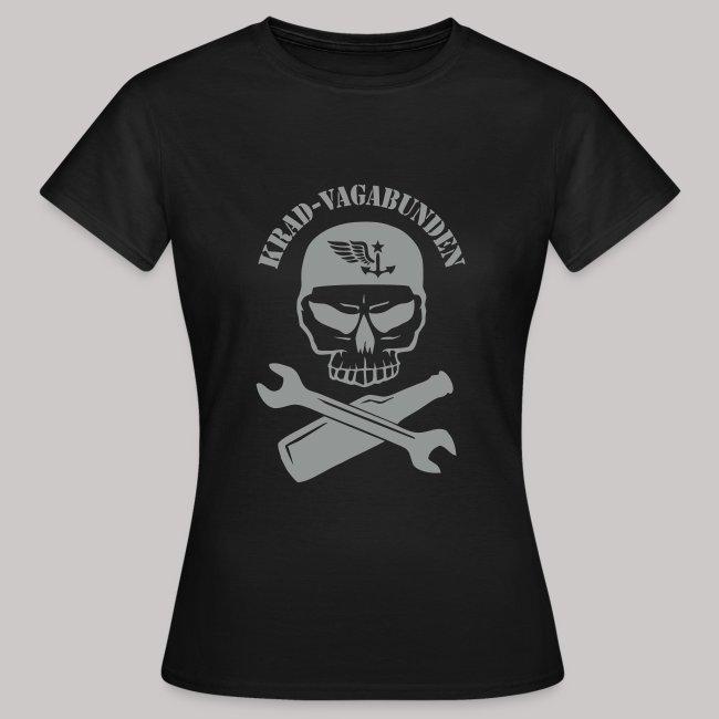 T-Shirt Damen - Totenkopf, Pulle & Schraubenschlüssel (grauer Aufdruck)