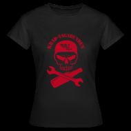 T-Shirts ~ Frauen T-Shirt ~ T-Shirt Damen - Totenkopf, Pulle & Schraubenschlüssel (roter Aufdruck)