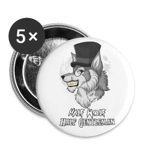 Half Wolf Half Gentleman - 56 mm (Large) Buttons (Set of 5) - Buttons large 56 mm
