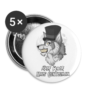 Half Wolf Half Gentleman - 25 mm (Small) Buttons (Set of 5) - Buttons small 25 mm
