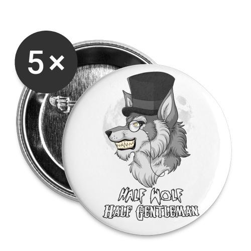 Half Wolf Half Gentleman - 32 mm (Medium) Buttons (Set of 5) - Przypinka średnia 32 mm (pakiet 5 szt.)