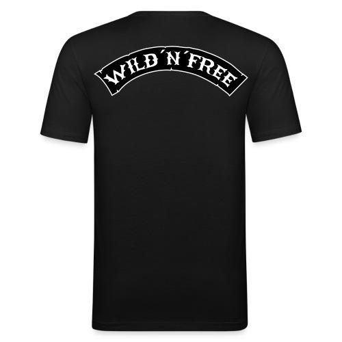 T-Shirt Slim Fit Schwarz/Weiss Logo - Männer Slim Fit T-Shirt