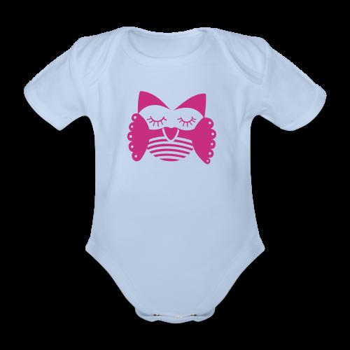 Frau Eule pink - Baby Bio-Kurzarm-Body