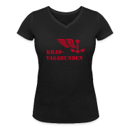 T-Shirts ~ Frauen T-Shirt mit V-Ausschnitt ~ V-Shirt Damen - Krad-Vagabunden - roter Aufdruck