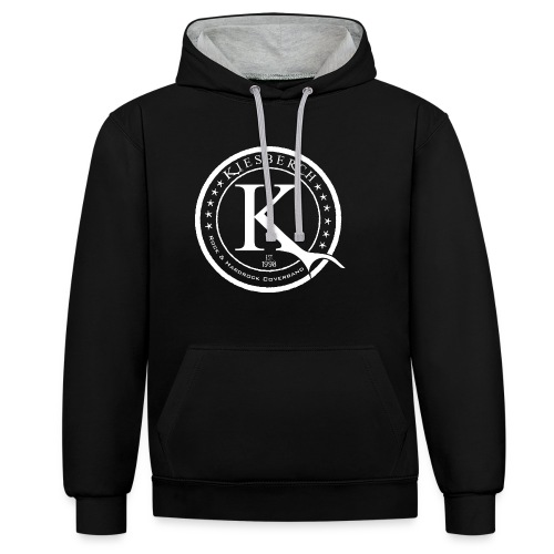 KIESBERCH K-Sign, Kontrast-Kapuzenpullover, Aufdruck weiß - Kontrast-Hoodie