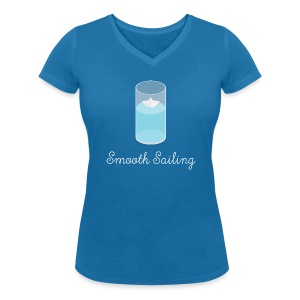 Smooth Sailing - Paper Boat in Glass T-Shirts - Women - Women's Organic V-Neck T-Shirt by Stanley & Stella